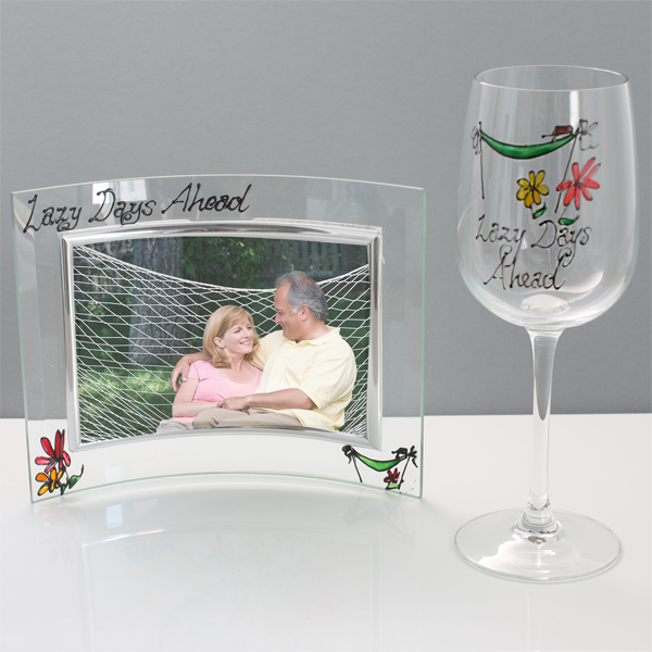 Retirement Wine Glass and Photo Frame Gift Set - Gift Set Gifts