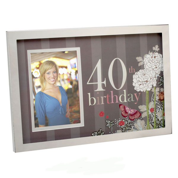 40th Birthday Photo Frame - Butterfly Design