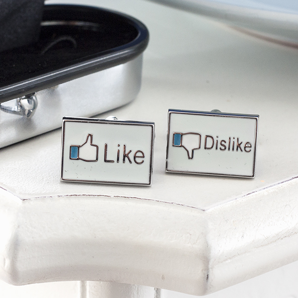 Like Dislike Social Media Cufflinks in Personalised Box - Social Gifts
