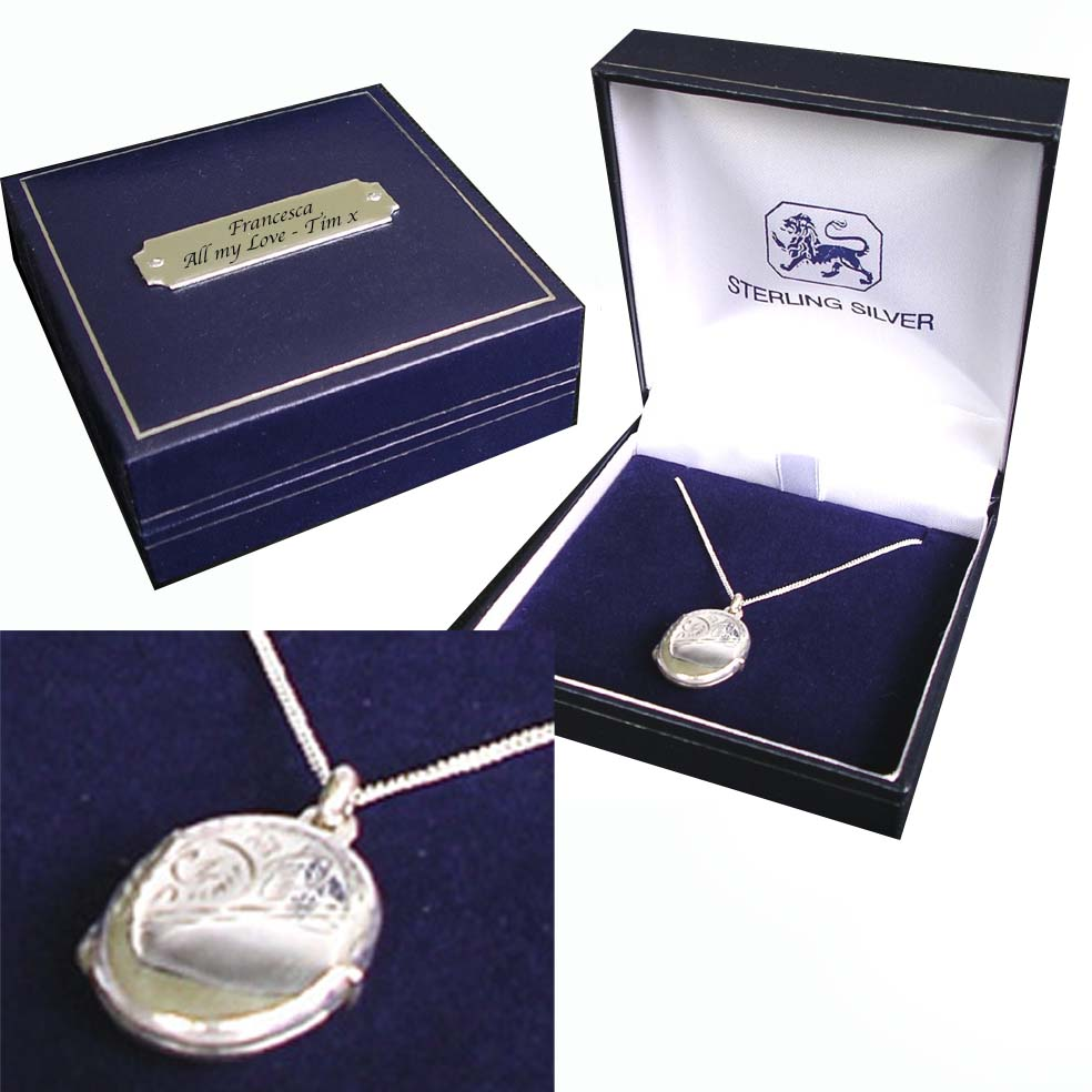 Locket Necklace with Personalised Gift Box