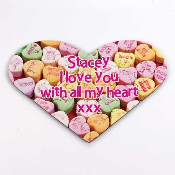 Personalised Love Heart Shaped Jigsaw