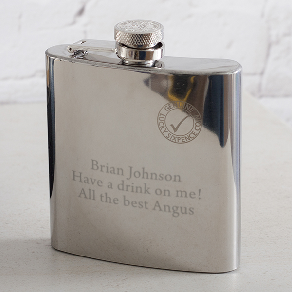 Personalised Lucky Sixpence Stainless Steel Hip Flask - Hip Flask Gifts
