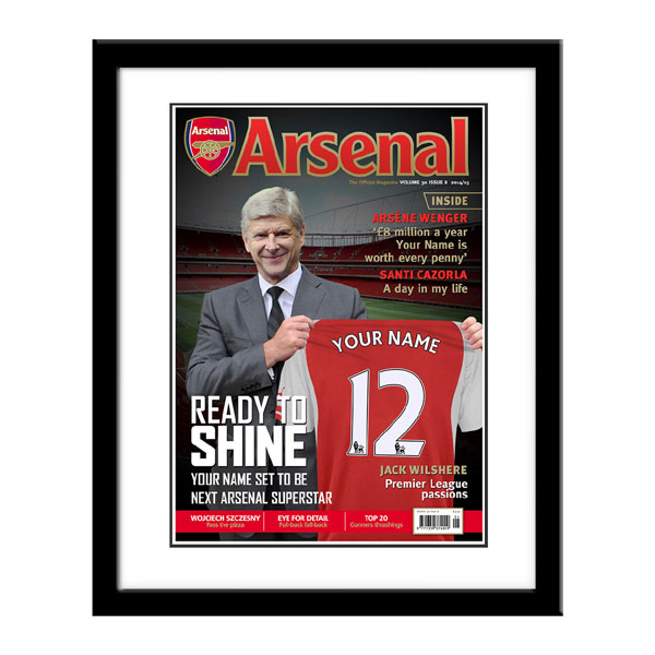 Personalised Arsenal FC Magazine Cover - Framed - Arsenal Gifts