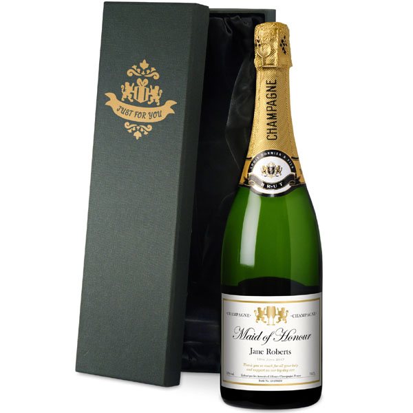 Maid of Honour Personalised Champagne Gold Gift Carton - Maid Of Honour Gifts