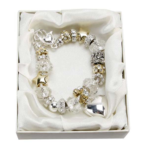 Maid of Honour Amore Silver/Gold Bead Charm Bracelet - Maid Of Honour Gifts
