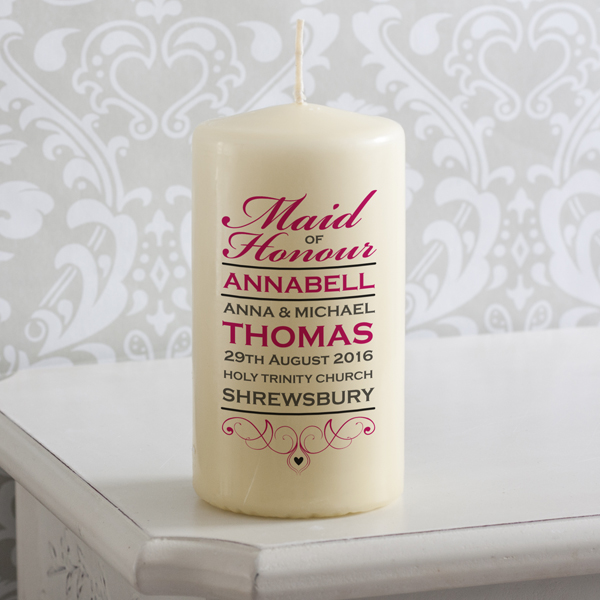 Personalised Maid Of Honour Candle - Maid Of Honour Gifts