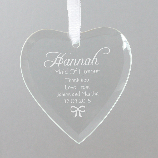 Personalised Maid Of Honour Hanging Glass Heart - Maid Of Honour Gifts