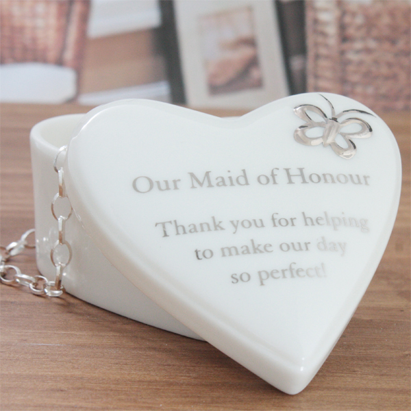 Our Maid of Honour Porcelain Heart Trinket Box - Maid Of Honour Gifts