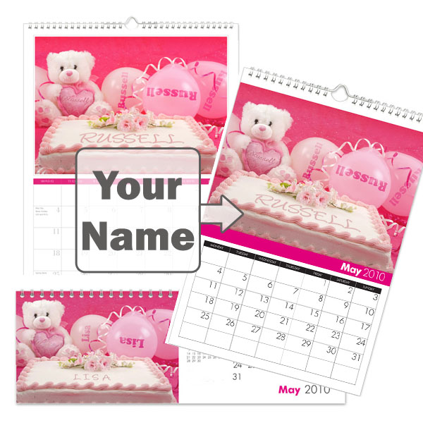 Personalised All Things Pink Calendar A3