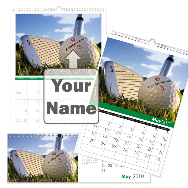 Personalised Golf Calendar A3