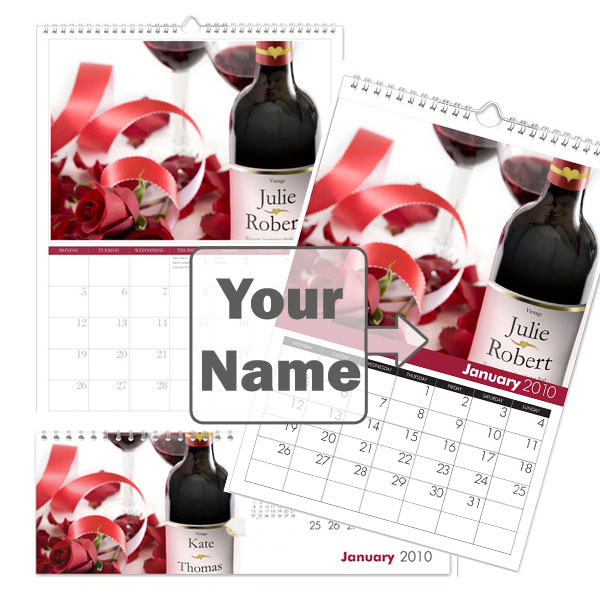 Personalised Love & Romance Calendar A3
