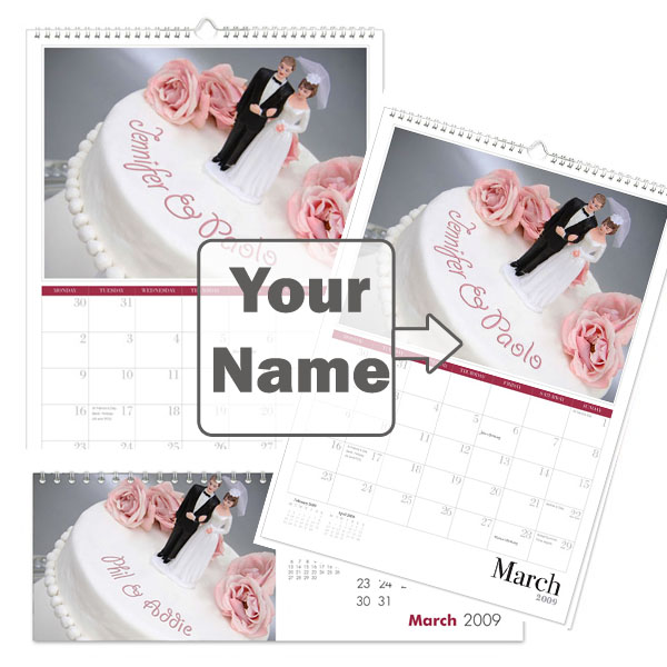 Personalised Wedding Calendar A3