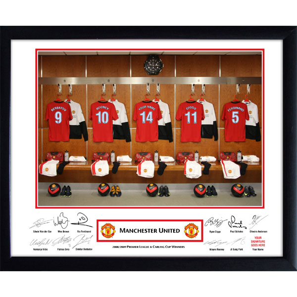 Personalised Manchester United Dressing Room Framed Photo