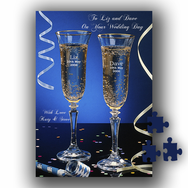 Message On A Jigsaw (Champagne Glasses Design)