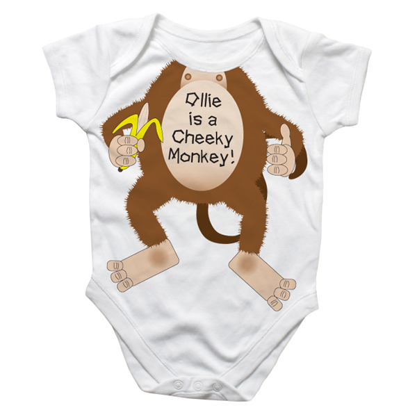 Personalised Cheeky Monkey Baby Grow - Baby  Birthday Your Baby Gifts - Boys - 3-6 months