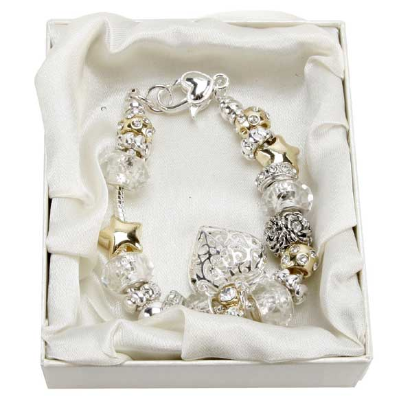Mother of the Bride Amore Silver/Gold Bead Charm Bracelet - Charm Bracelet Gifts