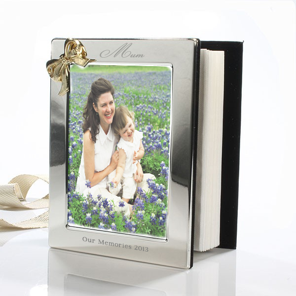 Mothers Day Engraved Photo Album With Gold Coloured Bow