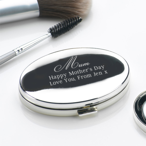Mothers Day Engraved Oval Compact Mirror