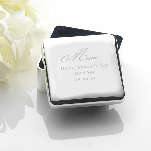 Mothers Day Engraved Square Jewellery Box
