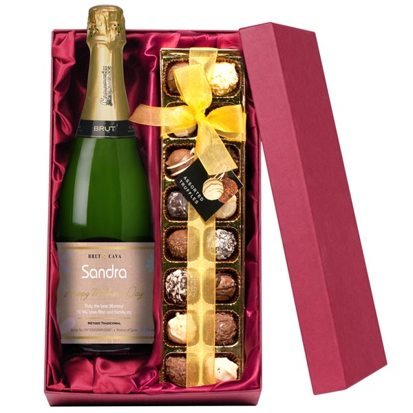 Mothers Day Personalised Bottle Of Cava And Chocolates