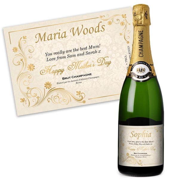 Mothers Day Personalised Champagne Gold Gift Carton