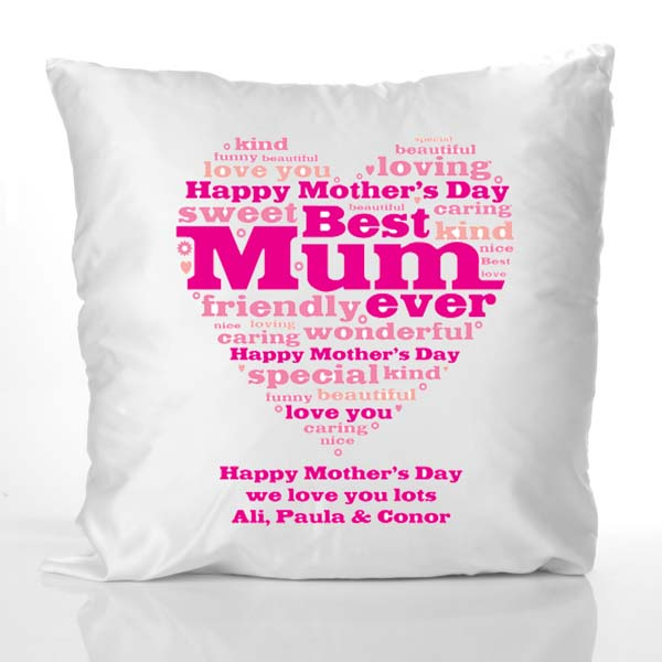Mother's Day Heart of Words Personalised Cushion