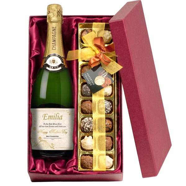 Mothers Day Personalised Champagne And Chocolates