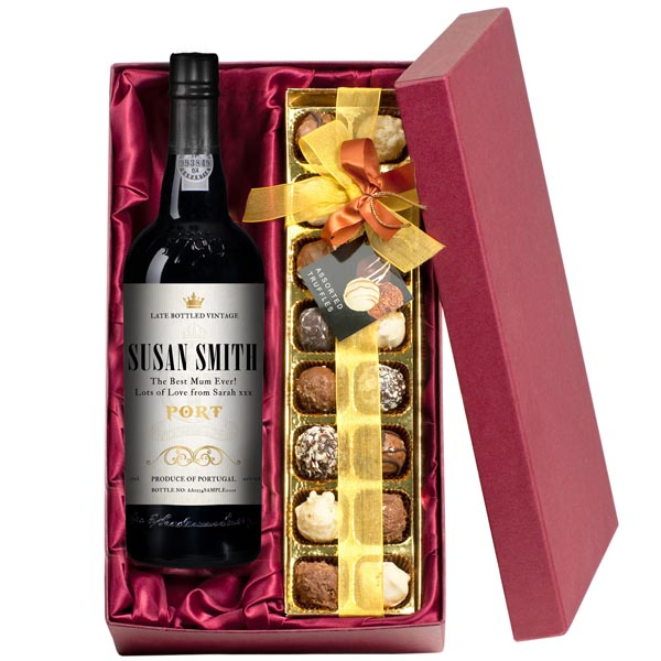 Mothers Day Personalised Port And Chocolate Truffles