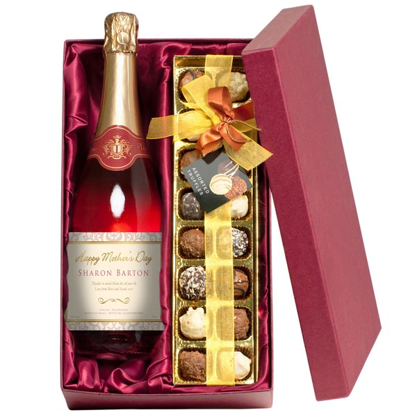 Mothers Day Sparkling Rose Wine And Chocolate Truffles
