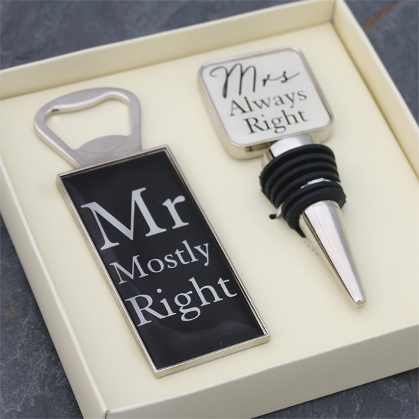 Mr & Mrs Bottle Opener and Stopper Set - Bottle Opener Gifts