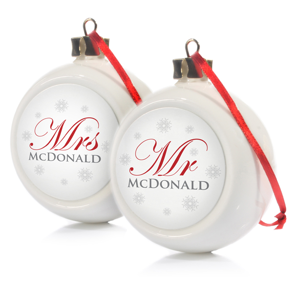 Mr & Mrs Twin Set Of Personalised Christmas Baubles