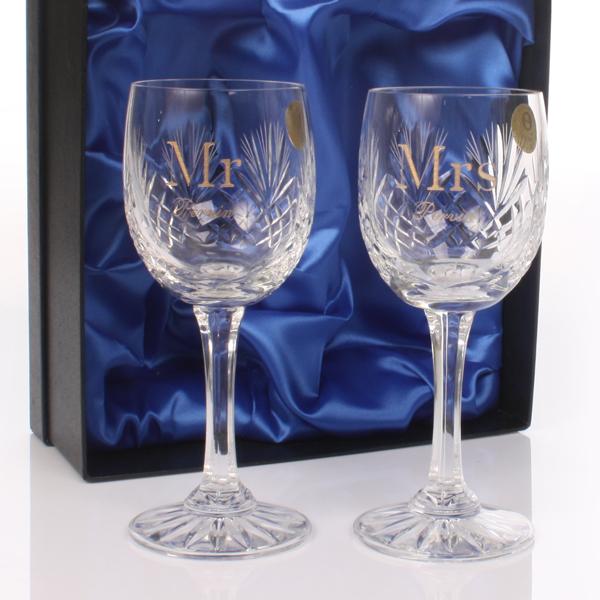 Personalised Mr & Mrs Cut Crystal Wine Glasses
