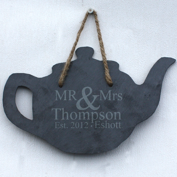 Personalised Mr & Mrs Slate Teapot - Teapot Gifts