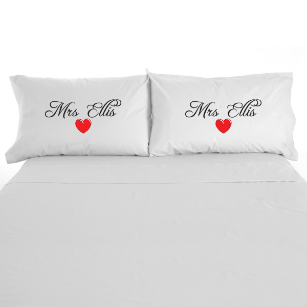 Mrs And Mrs Personalised Pillow Cases