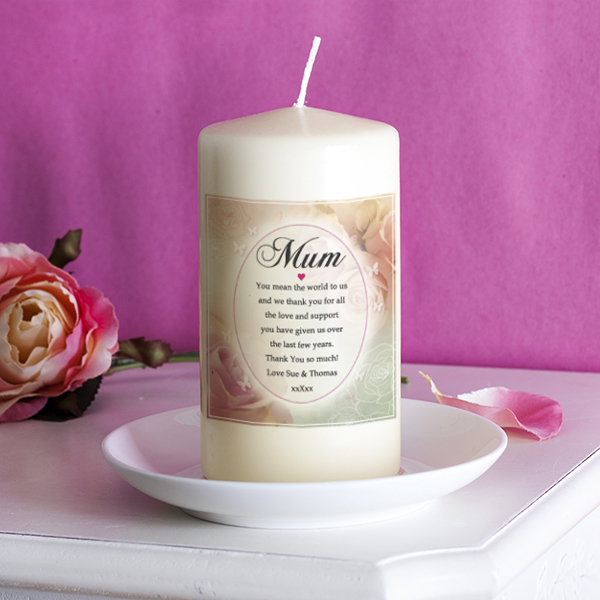 Personalised Floral Design Mum Candle - Mum Gifts