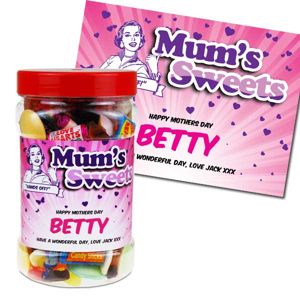 Personalised Mothers Day Retro Sweets Jar