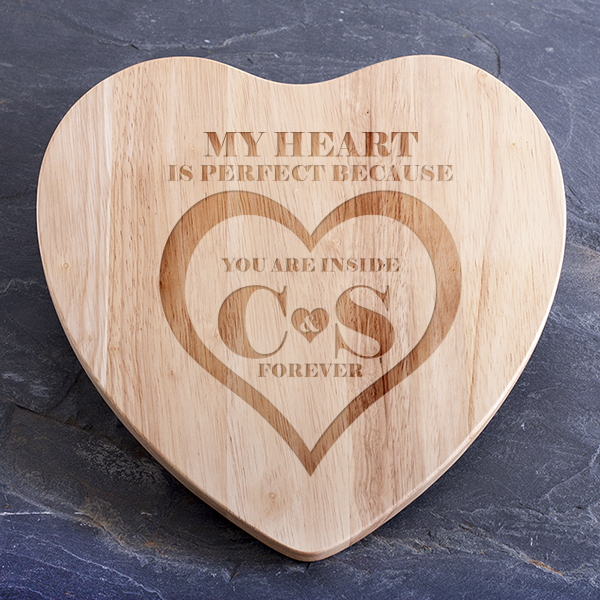 Personalised My Heart Is Perfect Heart Shaped Chopping Board - Chopping Board Gifts