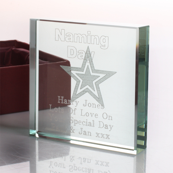 Personalised Naming Day Glass Keepsake - Naming Day Gifts