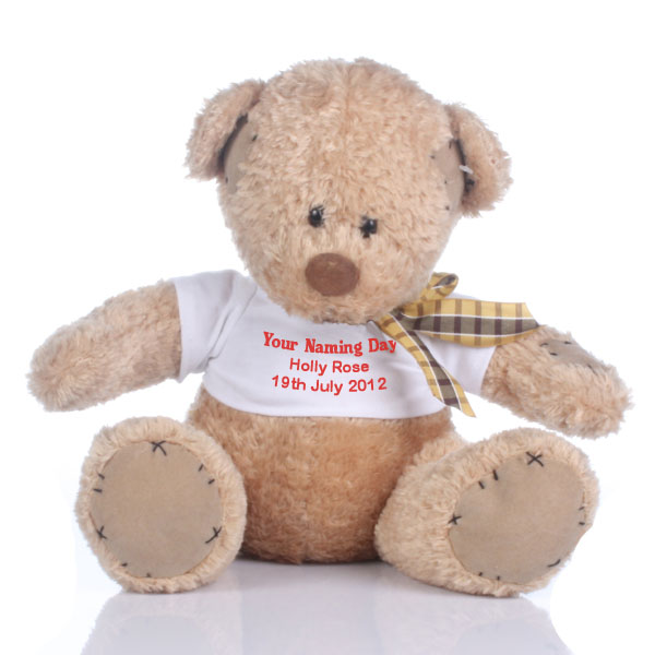 Personalised Naming Day Patch Bear - Naming Day Gifts