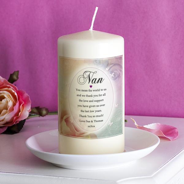 Personalised Floral Design Nan Candle - Nan Gifts