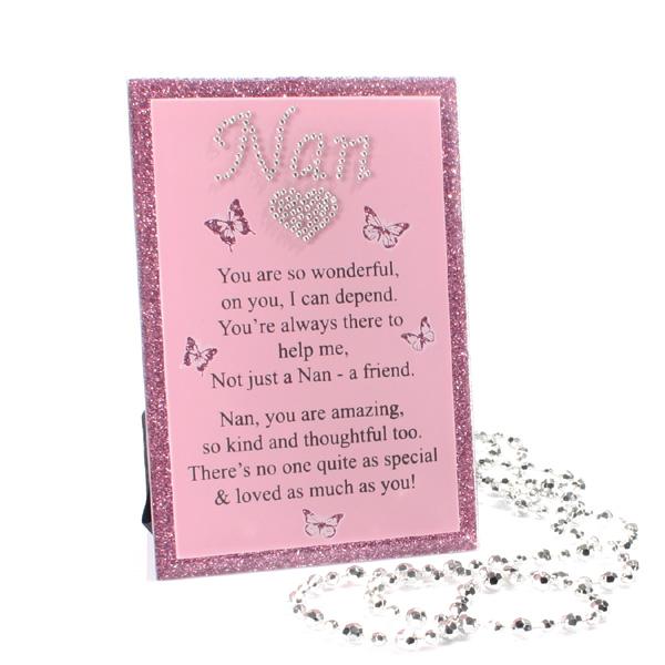 Glitter Glass Plaque With Verse - Nan - Nan Gifts
