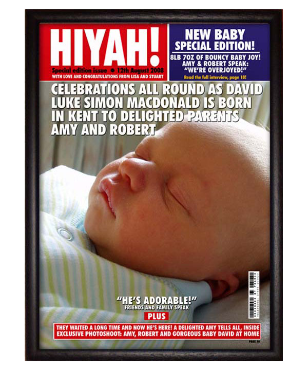 New Baby Personalised Magazine Cover Print Only