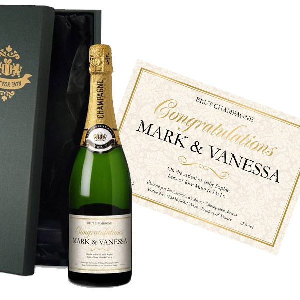 Personalised New Baby Champagne Luxury Gift Box