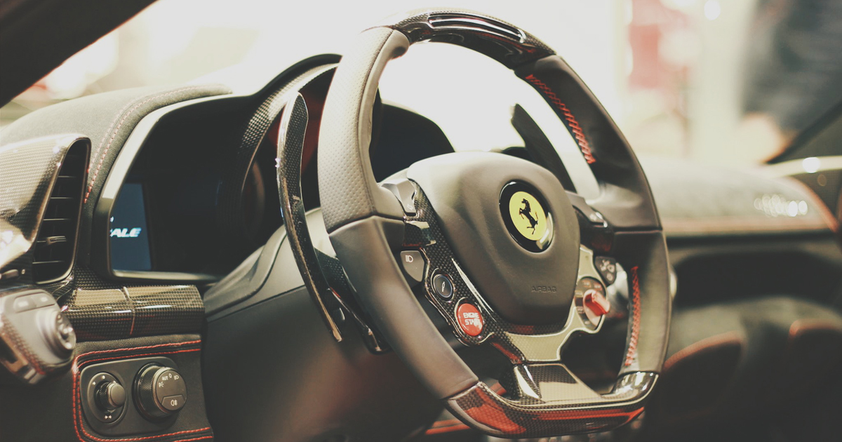 The inside of a Ferrari