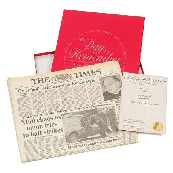 Gift Boxed Original Newspaper