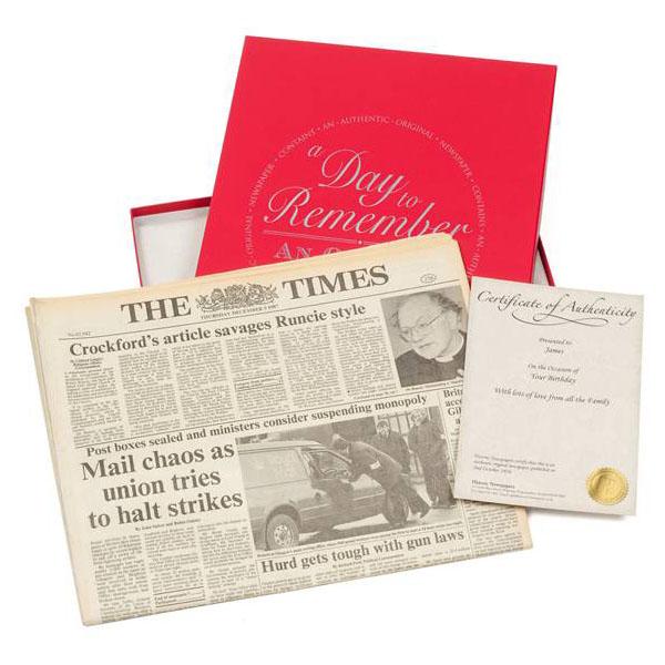 Pearl Anniversary  Gift Boxed Original Newspaper