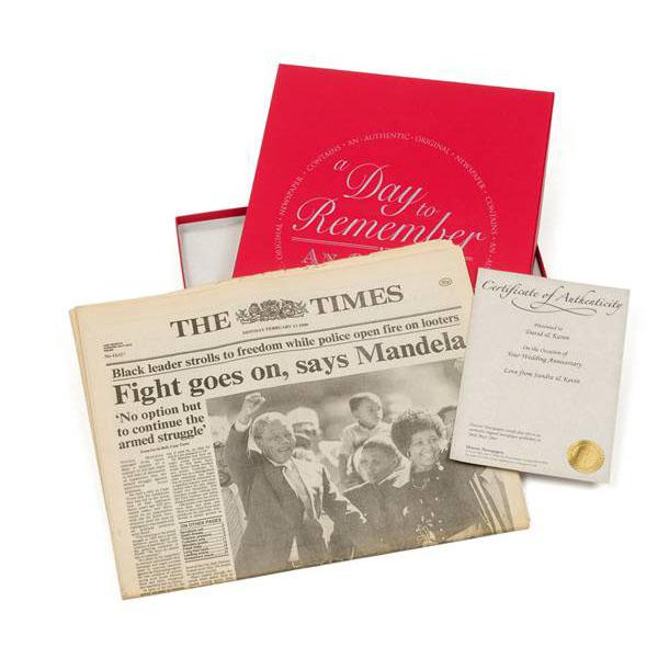 45th (sapphire) anniversary  gift boxed original newspaper