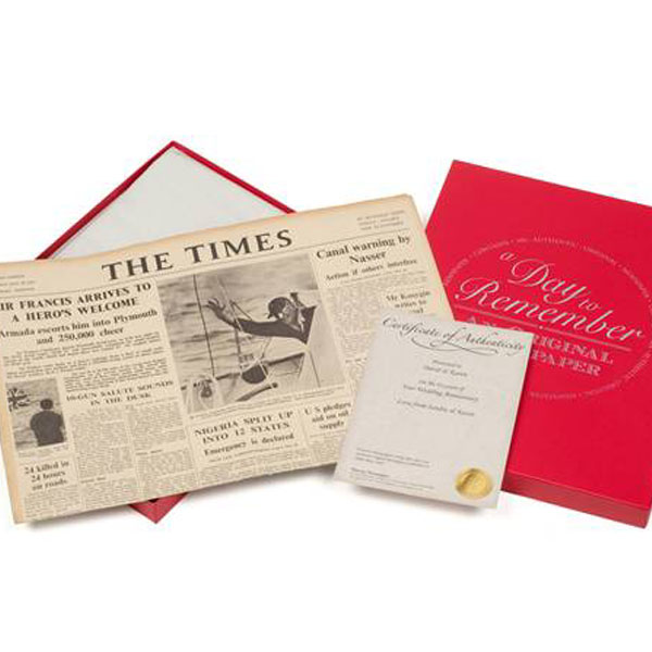 55th (Emerald) Anniversary  Gift Boxed Original Newspaper