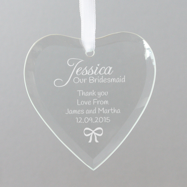 Personalised Bridesmaid Hanging Glass Heart