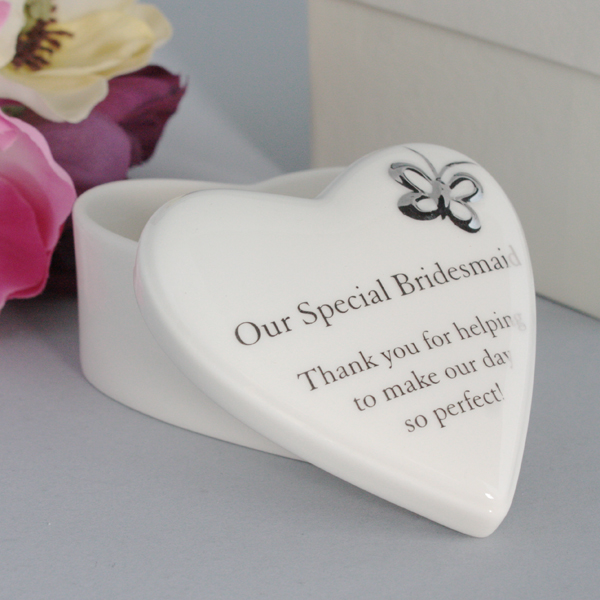 Our Special Bridesmaid Porcelain Heart Trinket Box